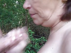 A walk in the nature end up with her sucking my cock, this chubby mature went down on her knees and grabbed my dick rubbing it with pleasure before wrapping her lips around it. She liked having my big hard penis in her mouth and when she swallowed it I just knew that a big load of semen would look perfectly on her face.